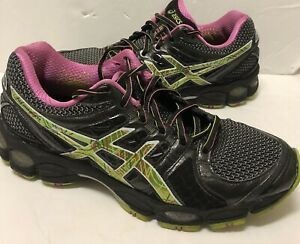 Details about ASICS Womens 9.5 Black Green Pink Gel Nimbus 14 Athletic Running Shoes T291N