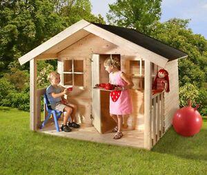 Kinderspielhaus 180x180cm Spielhaus Kinder Holzhaus Mit