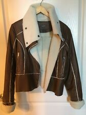 Emilie D. Women's Vegan Leather Fleece Lined Moto Zip Bomber Jacket Size S
