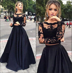 Black Lace Two Pieces A-line Evening Dress Sheer Long Sleeve Prom Party Gown New
