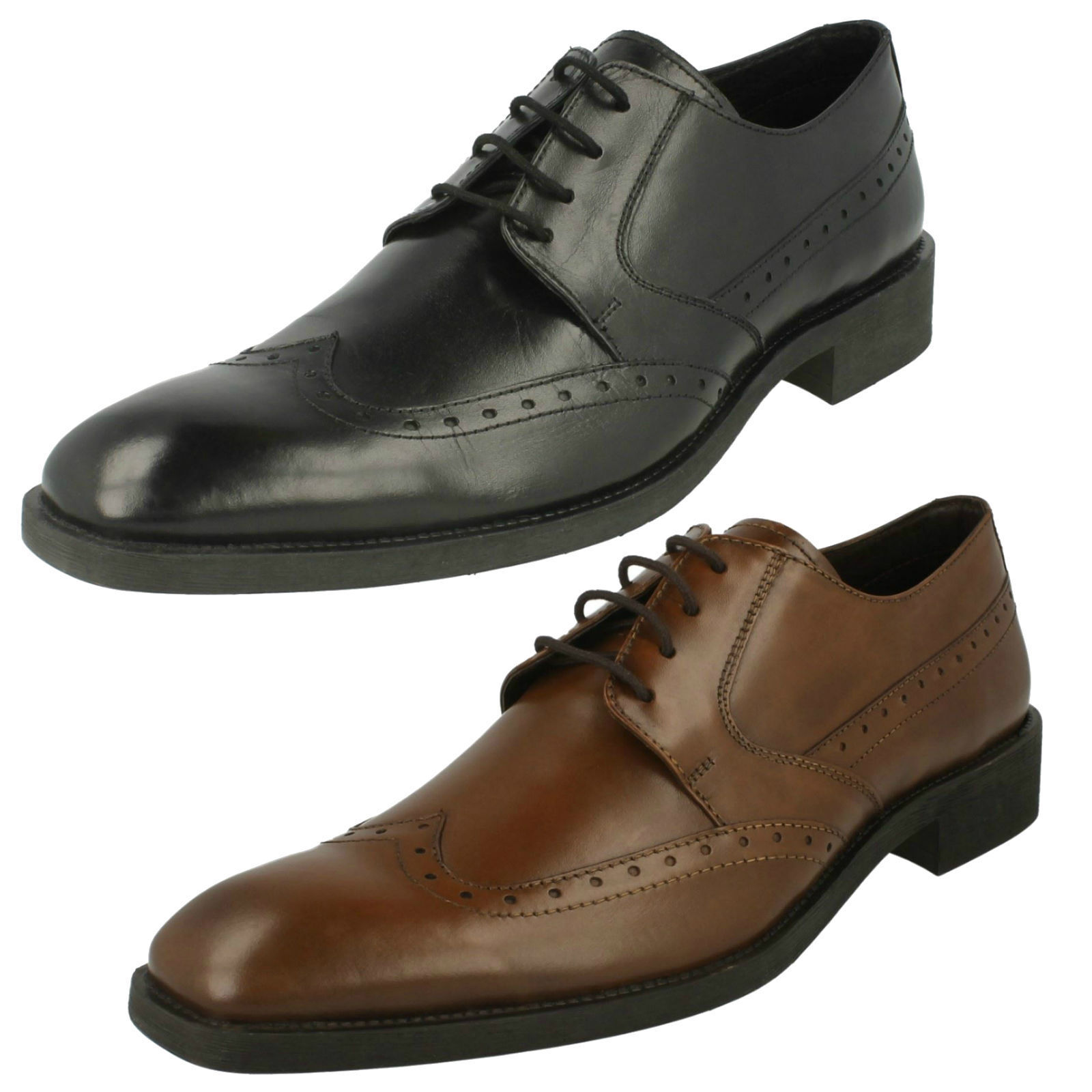 Maverick Mens Leather Lace up Shoes in black & brown style A2R121