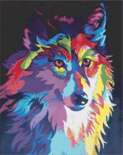 RAINBOW WOLF # 1 CROSS STITCH CHART