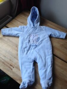 f8210f62dde8 Mothercare Baby Boys Sky Blue Velour Pram Suit Snowsuit Bodysuit 3-6 ...