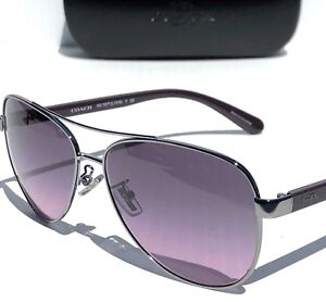 305824fdb3 NEW  COACH HC7077 SILVER   PURPLE 58mm Aviator Violet Lens Sunglass ...