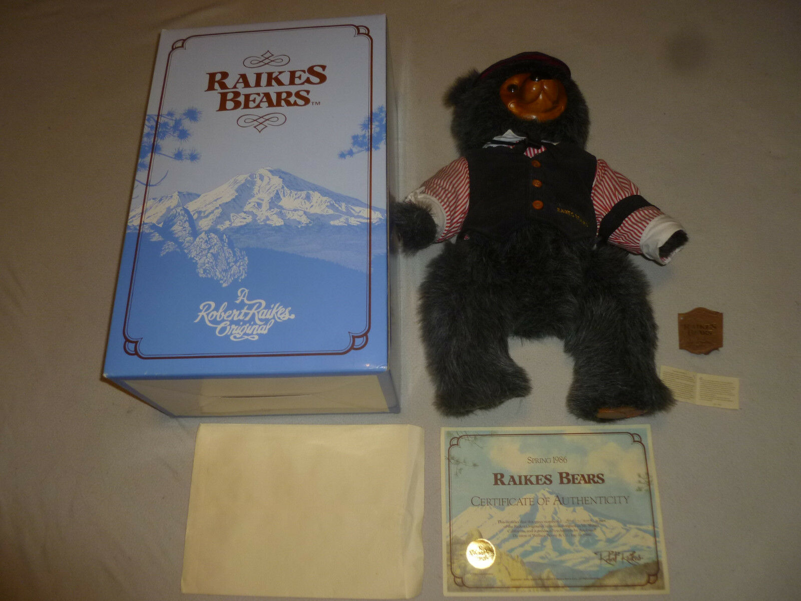 BOXED ROBERT RAIKES MAX BEAR SIGNED M4122 VINTAGE 1986 COA LE GAMBLER LIMITED LE