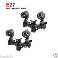 CLTHx2 Twin Lamp Bulb Holder E27 Socket Slave Swive Bracket Light umbrella Mount