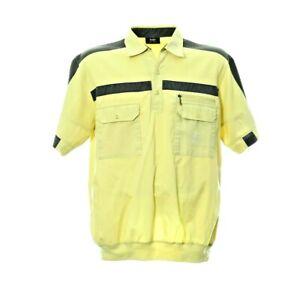 Vintage-Hajo-Kurzarmhemd-Herren-Groesse-M-Gelb-Freizeit-Shirt-Gummizug-Retro