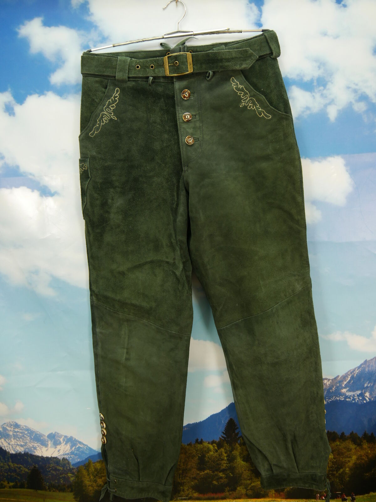 Come nuovo lungo verde morbido e molto difficile Trachten ricamo Lederhose MIS. 48