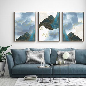 3-Piece-Canvas-Prints-Set-Golden-Birds-Landscape-Abstract-Art-Unframed