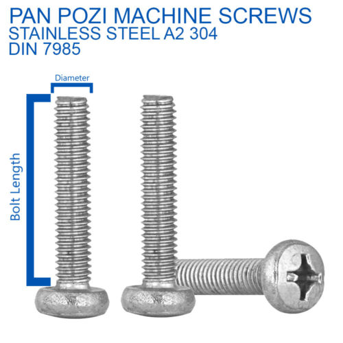 M5 x 20mm POZI PAN HEAD MACHINE SCREWS POZIDRIVE SCREW A2 STAINLESS DIN 7985