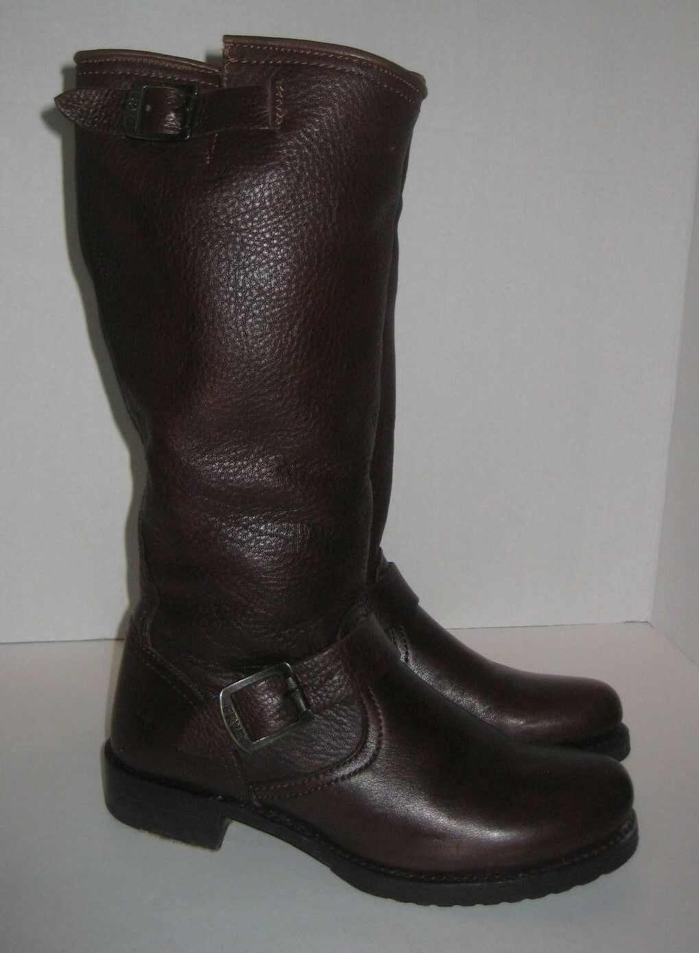 FRYE VERONICA SLOUCH LEATHER ENGINEER BOOTS BROWN WOMEN'S SIZE 8