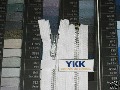 "100 14"" #5 Aluminum Zipper Separating White YKK"