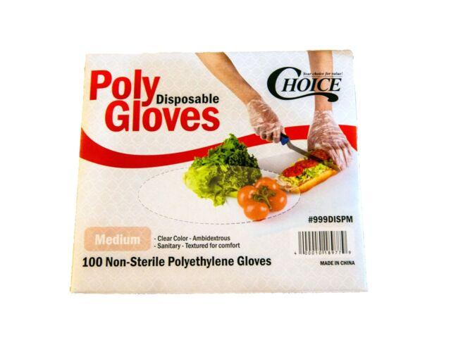 Polyethylene Food Service  Gloves  Poly Gloves 100pcs/ Medium