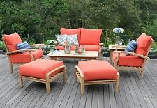 new 7 piece teak wood outdoor patio seating set garden furniture red cushions