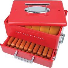 Hot Dog Steamer Machine Electric Food Bun Warmer Cooker Red 24 Hot Dogs 12 Buns