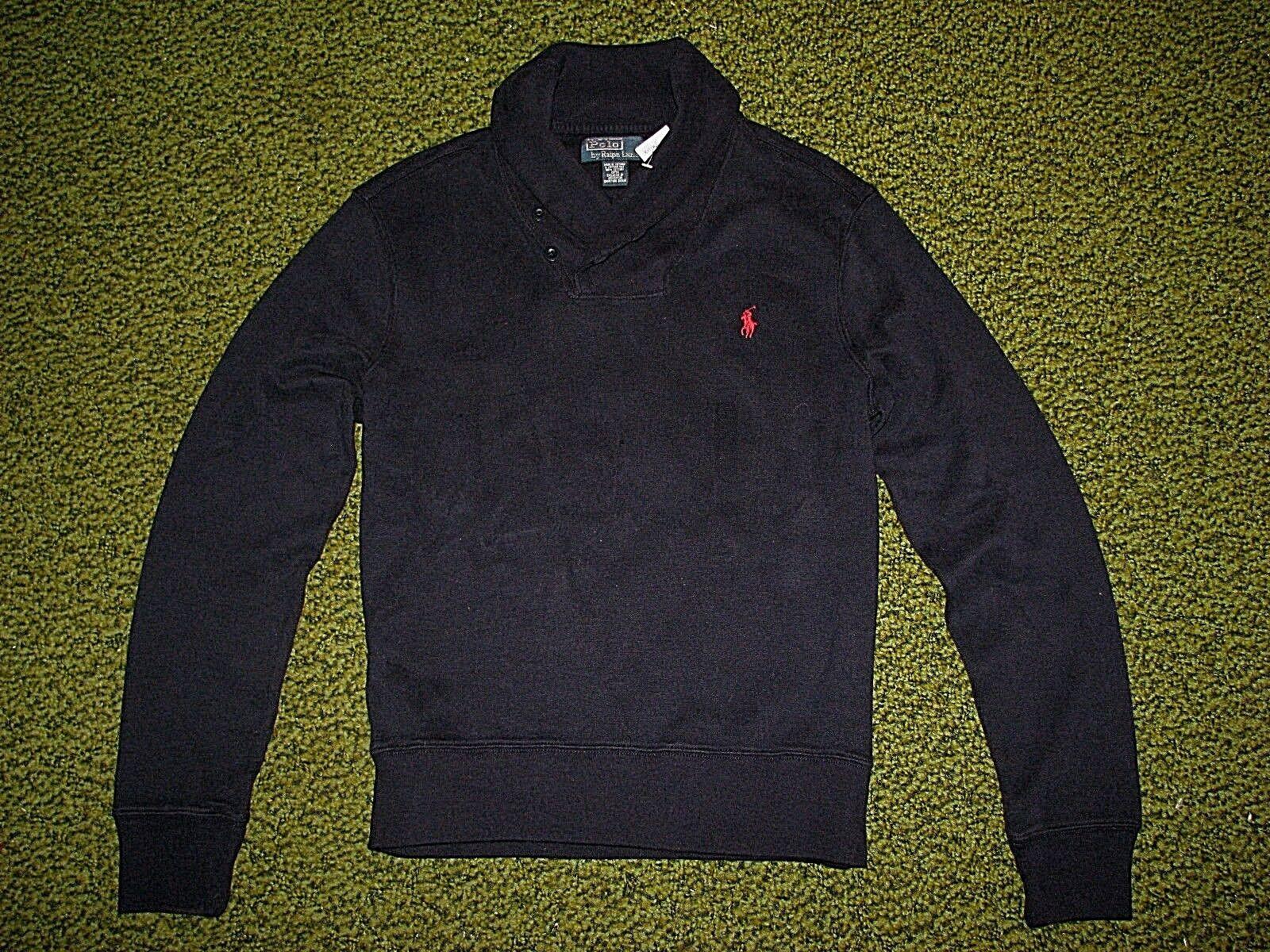 Herren S Polo Ralph Lauren Marineblau Schalkragen Fleece Sweatshirt
