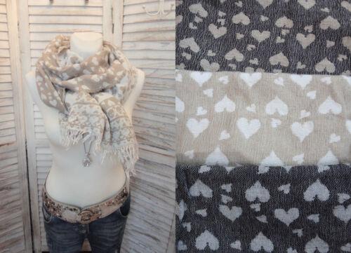 XL Schal ITALY Stola HERZEN Fransen beige grau taupe NEU