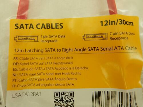 "2 NEW 12/"" Startech LSATA12RA1 SATA III 6Gbps Right Angle Data Cable Hard Drive"