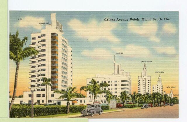 Vintage Linen Postcard Miami Beach Fl Florida Collins Ave Hotels Old Cars