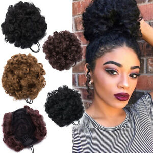 Details About Afro Ponytail Puff Drawstring Wrap Natural Curly Hair Bun Updo Chignon Extneions