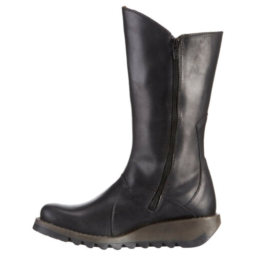 Fly London MES 2 Rug Leather Wedge Calf Length Womens Boots