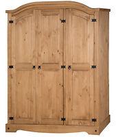 Mercers Furniture® Corona Mexican Pine 3 Door Arch Top Wardrobe
