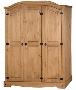 Corona 3 Door Arch Top Wardrobe Mexican Bedroom Solid Pine by Mercers Furniture