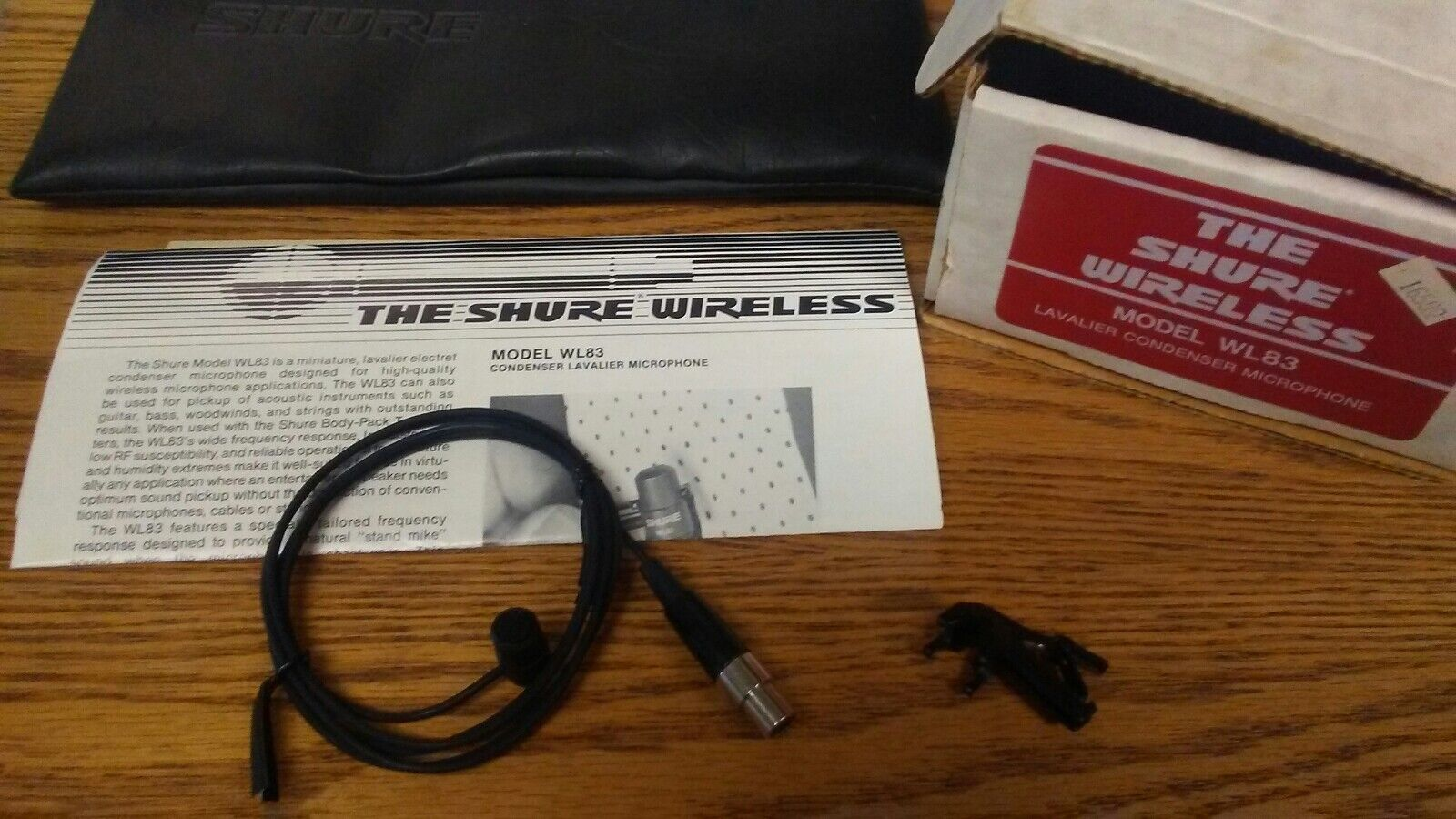 The shure WL83 Lavalier Microphone opened box