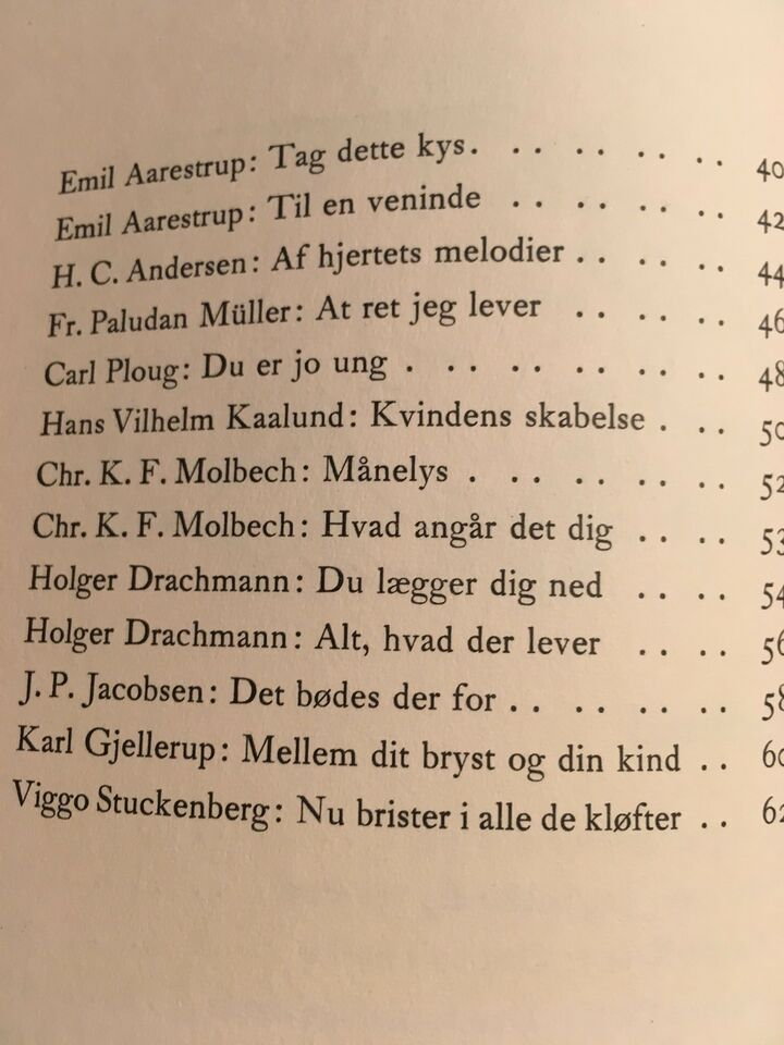 Danske kærlighedsdigte, Fra Peder SYv til Viggo