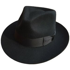 Classic Black Men s Wool Felt Godfather Gangster Mobster Gentleman ... e97b8258511