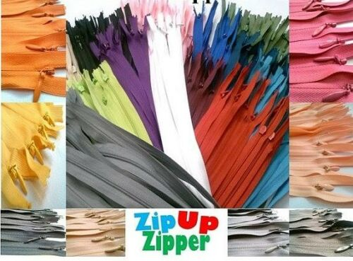 75 YKK Nylon Zippers 14 Inches Coil #3 Closed Bottom Assorted Colors