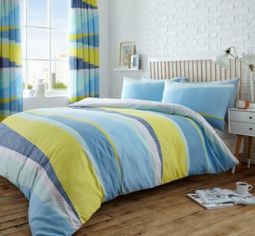 Luxury Dexter Stripes Poly Cotton Duvet Cover Quilt Cover Reversible Bedding Set