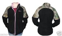 Habit Womens Fleece Jacket Black With Realtree Xtra Camo And Pink Accents Fj9004