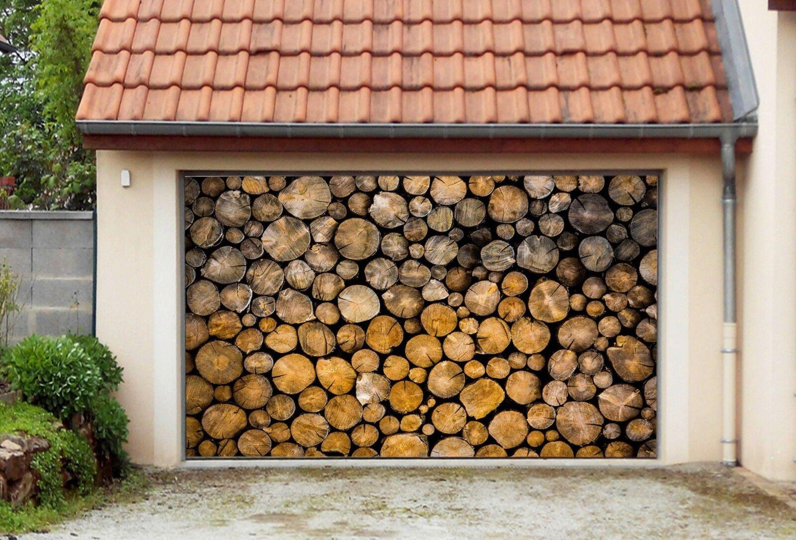 3D Wood Heap 854 Garage Door Murals Wall Print Decal Wall AJ WALLPAPER UK Carly