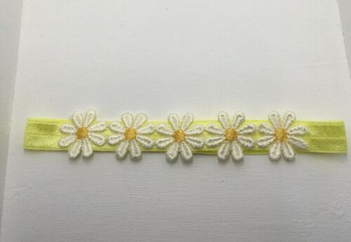 Babies yellow headband with 5 white daisies with gold centre All Sizes
