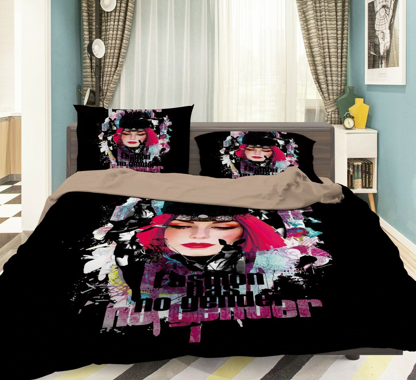 3D Funny Woman 1 Bed Pillowcases Quilt Duvet Cover Set Single Queen King Size AU