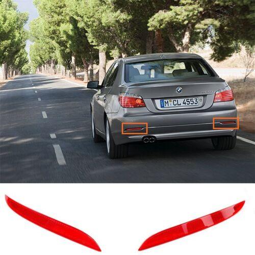 For BMW 08-10 E60 E61 525i 528i 530i 550i Red Rear Bumper Reflector Red Lens L+R