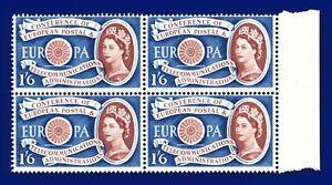 1960-SG622-1s6d-EUROPA-BLOCCO-W15-4-Varieta-Marrone-SHIFT-A-SINISTRA-verticale-Gomma-integra-non