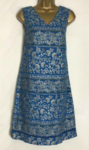 n-80h Prossimo Blu Stampa Argento Misto Lino Tunica Tasca//Shift Dress Size 10-16