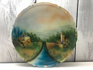 Germany-Porcelain-Fired-Clay-1900s-Handpainted-12-034-Antique-Plate-Stone-Castles