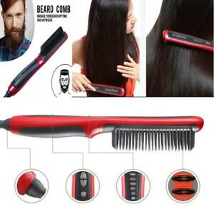 Details about Fast Electric Beard Hair Straightener Brush Comb Hair Flat Curling Iron HeatedQW