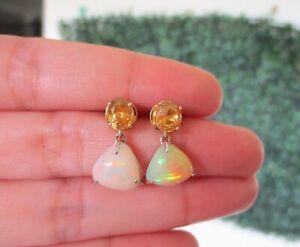 2-36-Carat-Opal-w-1-44-Citrine-Dangling-Earrings-14k-Twotone-Gold-E435