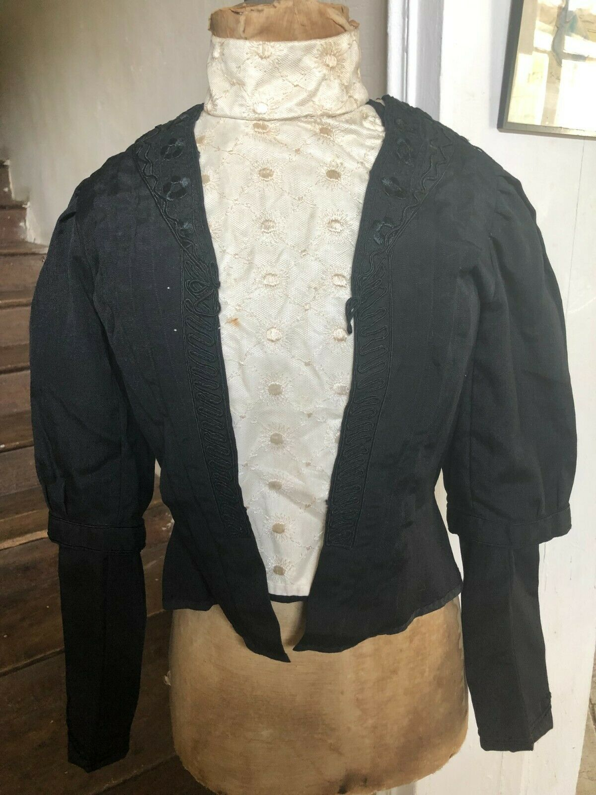 Antique French Handmade Victorian Womens Ladies Bodice Jacket Blouse c1893