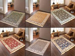 Teppich braun grün  W522 Teppiche Orient Dessin Viskose Blau Rot Gold Grau Braun Grün ...