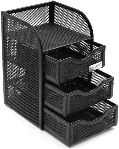 Mesh Desk Organizer Supply Caddy with 3 Accessories Drawer,Black