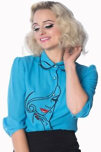 Women-039-s-Model-Face-Blue-Vintage-Retro-Rockabilly-Top-Shirt-By-Banned-Apparel