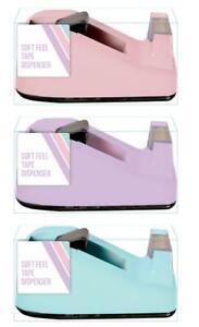 Soft-Feel-Desktop-Tape-Dispenser-Pastel-Colour-School-Office-Stationery-New