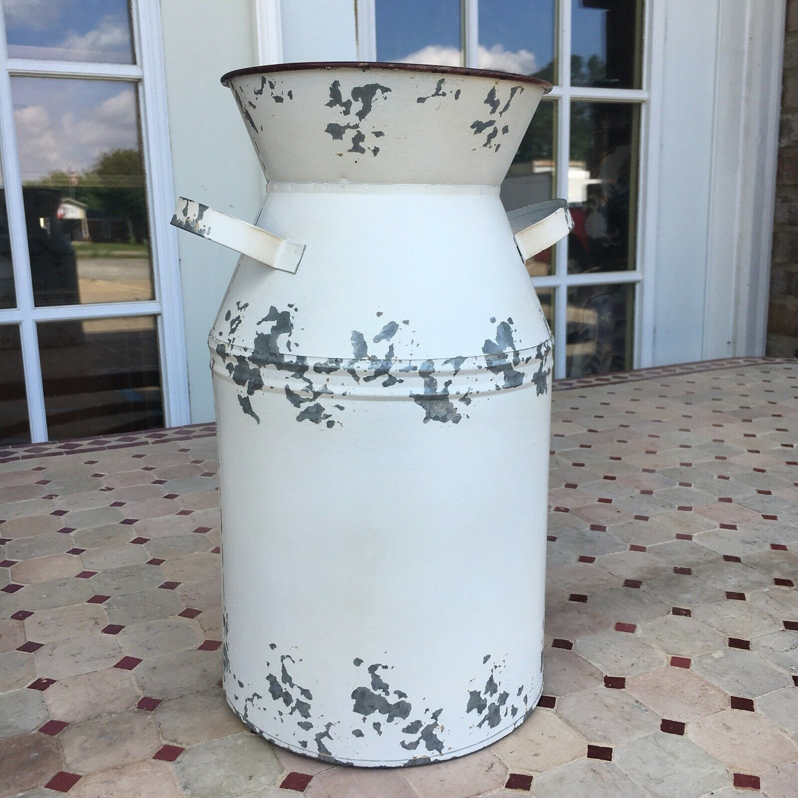 Metal Galvanized Milk Can Jug White Washed Seasons Greeting Farmhouse Christmas For Sale Online