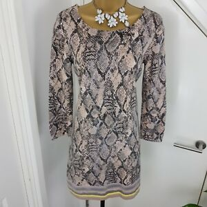 Boat Print 12 Skin Snake Sleeves Tunic Size Ashley Dress Uk Neck Laura fFn761F