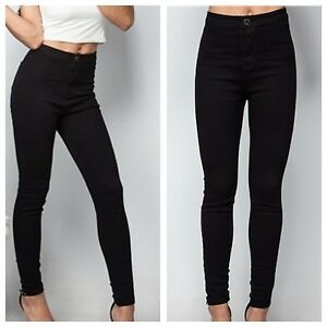 WOMEN LADIES HIGH WAISTED ONE BUTTON SUPER SKINNY STRETCH BLACK